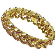 Estate_10.00ct_Round_Cut_Burmese_Ruby_18k_Yellow_Gold_Bracelet   New York Estate Jewelry   Israel Rose