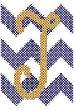 Cross Stitch Chevron Pattern with Curly by oneofakindbabydesign