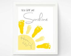 Baby Footprint Art - You Are My Sunshine Art Print - Yellow and Gray Nursery, Baby Wall Art - Baby Nursery Decor