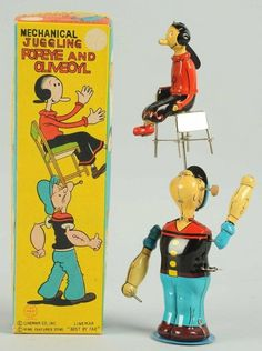 Linemar Juggling Popeye and Olive Oyle wind up with spinning chair action. Very fun to watch toy.