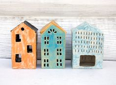 House Tealight and Candle Holder-Ceramic House-Candle by Vsocks