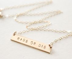 Ride or Die / Custom Bar necklace / Best by DaintyLayersJewelry