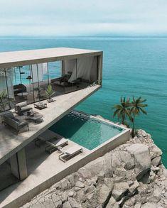 Dream Home Design, Modern House Design, Amazing Architecture, Interior Architecture, Contemporary Architecture, Casas Containers, Cliff House, Modern Architects, Luxury Homes Dream Houses