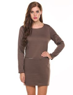 Gray O-Neck Long Sleeve Solid Pullover Fleece Dress with Zip Pocket