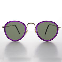 c71b872c5ac6 Purple Round Preppy Vintage Sunglasses with Gold Frames - Maddie  affilink   vintagesunglasses  vintage