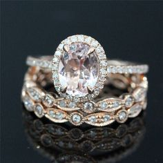 Vogue Gem - Bridal Ring Set of 14k Rose Gold 8x6mm Morganite Oval Engagement Ring and 2 Diamonds Bezel Full Eternity Ring, $1,119.00 (http://www.voguegem.com/bridal-ring-set-of-14k-rose-gold-8x6mm-morganite-oval-engagement-ring-and-2-diamonds-bezel-full-eternity-ring/)