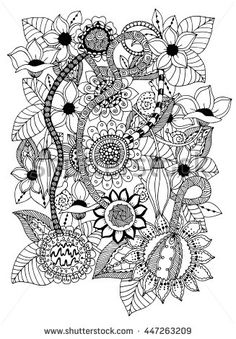 Vector Illustration Zentangl Card With Flowers Coloring Book Anti Stress For Adults Brown And White