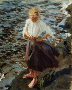 """Windswept Girl"" Akseli Gallen-Kallela (Pori, † w Finnish painter. Teacher of Hugo Simberg, also an important Finnish symbolist. Nordic Art, Scandinavian Art, Art And Illustration, Illustrations, Paintings I Love, Art Paintings, Helene Schjerfbeck, Merian, Beach Art"