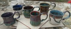 Mugs.  Some of our latest kiln treasures. Mark your calendars for McKinney Arts in Bloom festival April 7-9, 2017. Out of Office Pottery Studio, Highland Village TX  #dfw #art #supportyourlocalpotdealers