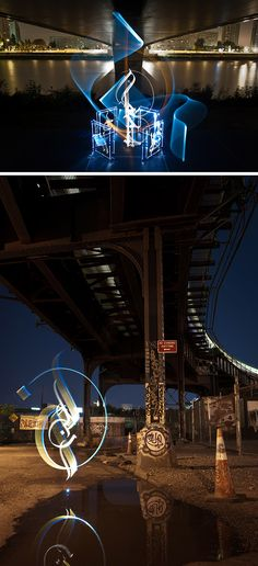 Julien Breton teamed up with David Gallard to create these striking long exposures that blend their two artistic mediums. Light painting is a breeze with our Pixelstick! http://photojojo.com/store/awesomeness/the-pixelstick//?utm_content=buffer5a172&utm_medium=social&utm_source=pinterest.com&utm_campaign=buffer