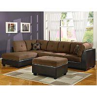Williams Home Furnishing Sectional Sofa Set with Ottoman - Select Chocolate or Saddle Microfiber - Sams Club
