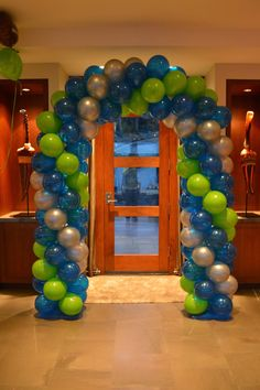 Seahawks Football balloons, Superbowl Party, by: Sweet and Petite Party Designs  * event coordinating  * unique party themes  * custom decor and displays  * designs with handmade charm