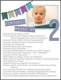 Birthday roundup (questions) to ask each year. Blog has a link to 4 free printables to download in different colour options for boys and girls.
