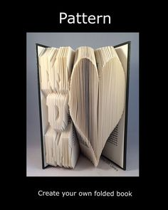 Book folding PATTERNS to Create your own folded book art Vertical Mum/Dad Heart