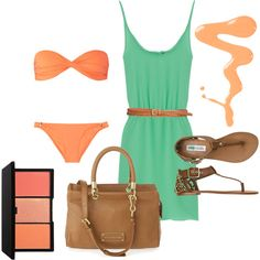 Orange and Brown Beach Attire, Beach Fun, Sunny Days, What To Wear, Greece, Cool Outfits, Traveling, Orange, Shoe Bag