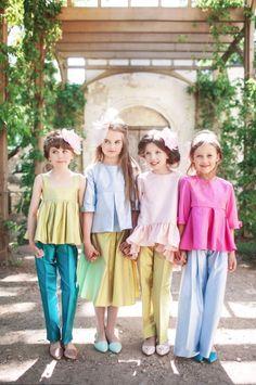 Soft shades of silk for Aristocrat Kids luxury girls fashion spring 2016