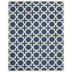 Safavieh Handmade Moroccan Cambridge Geometric Navy Blue/ Ivory Wool Rug (10' x 14') - Overstock Shopping - Great Deals on Safavieh 7x9 - 10x14 Rugs