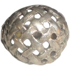 Sterling Silver Ring with Domed Top, Lattice Pattern