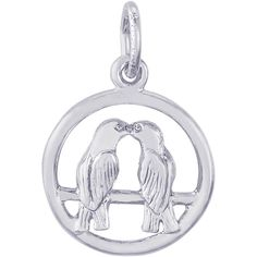 Rembrandt Charms, Love Birds, .925 Sterling Silver. HEIGHT: ~1/2in, WIDTH: ~1/2in. Rembrandt Charms Lifetime Unconditional Warranty. Authentic RQC Trademark Stamp. 3 Dimensional, Flat Back.