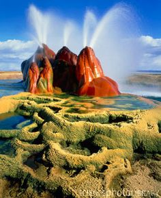 Fly Geyser in the Black Rock Desert, Nevada, USA - Stock Image - Black Rock Desert Nevada, Nevada Desert, Nevada Usa, Fly Geyser Nevada, Places To Travel, Places To See, Dragons, Living On The Road, Mysterious Places