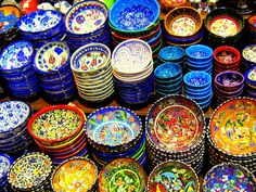 When I was in Istanbul last fall, I bought beautiful bowls for Holly in the Grand Bazaar. Those bowls had different shades of purple and th. Kusadasi, Turkish Design, Turkish Art, Turkish Plates, Turkish Style, Istanbul, Kitchen Dishes, Images Google, Image Collection