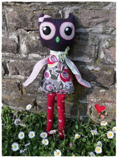 long-legged textile owl ~ handmade by MelindaCrea