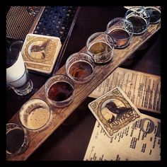 Beer flight from Ladyface Ale House & Brasserie. Agoura Hills, CA.