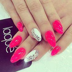 Hot pink white rhinestone glitter nails