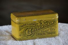 Tobacco Tin Can YARBROUGH'S Golden Rain Curly Cut Smoking Tobacco NICE