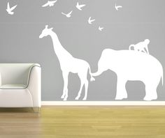 Elephant Giraffe Wall Decal - Zoo Line Safari Jungle Silhouette - Vinyl Wall Art Room Decor - Children's Bedroom Nursery - CA112C. $58.50, via Etsy.