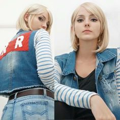 android 18 android 18 (cosplay) bangs belt blonde hair cosplay cutoffs denim denim jacket dragon ball dragonball z earrings from behind jewelry katiucha barcelos looking at viewer photo red ribbon army striped swept bangs - Image View - Android 18 Cosplay, Dc Comics, Hot Girls, Dragon Ball Z Shirt, C 18, Best Android, Best Cosplay, Awesome Cosplay, Cosplay Girls