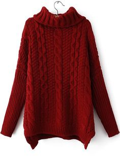 Red High Neck Long Sleeve Cable Knit Sweater