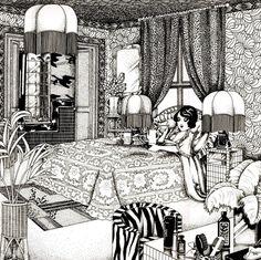 Biba bedroom illustration by Malcolm Bird (1974)