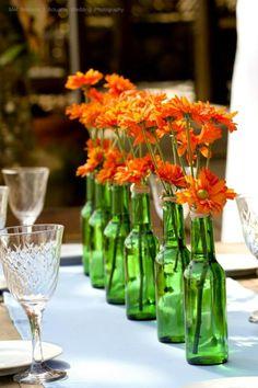 garrafa Heineken decorada com flores