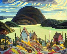 Artwork Page: Rossport, Lake Superior - Canadian Paintings in the Thirties Canadian Painters, Canadian Artists, Art Inuit, Group Of Seven Paintings, Fishing Villages, Lake Superior, Paint By Number, Canada, Oeuvre D'art