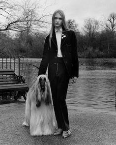 "lesthetiquedelinventaire: "" Stav Strashko & Sophia Friesen by Jamie Hawkesworth for Vogue UK April 2016 "" Vogue Editorial, Editorial Fashion, Afghan Hound, Dog Lady, Vogue Uk, Androgyny, Animal Fashion, Vogue Magazine, World Of Fashion"
