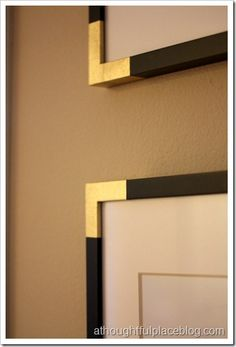 Gold edged picture frames. I love her idea of spray painting painter's tape - removable if need be and apparently gives off the vibe of gold foil! Genius.