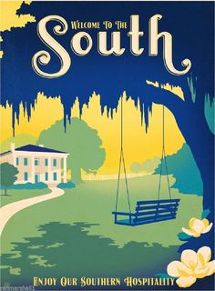 """Poster """"The South"""" von Anderson Design Group, Retro-Werbung Americanflat Southern Pride, Southern Comfort, Southern Charm, Southern Belle, Simply Southern, Southern Living, Southern Sayings, Southern Momma, Southern Drawl"""
