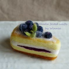 Needle felted Blueberry cake