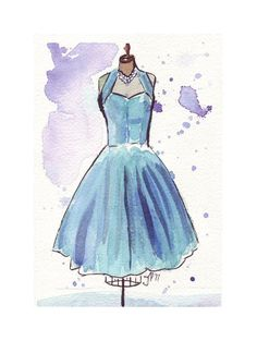 Watercolor Painting -  Fashion Illustration - Vintage Blue Chiffon Party Dress Watercolor Art Print, 5x7