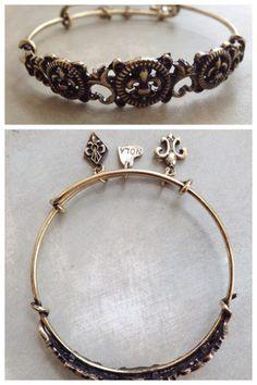 Fleurty Girl - Everything New Orleans - Fleur de Lis Scroll Charm Bangle Bracelet Bangle Bracelets With Charms, Bangles, Saints Gear, Orleans, I Love Jewelry, Jewelery, Charmed, My Style, Wedding