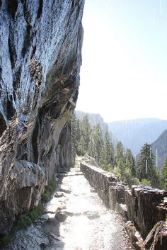 Yosemite National Park: On the John Muir Trail near Nevada Falls - this branches to panorama trail and on to Glacier Point -- a spectacular hike best done from Glacier Point to the Yosemite Valley floor