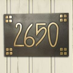 American Craftsman Arts and Crafts font with square border Bungalow name or personalized address plaque W x H - - Estilo Craftsman, Craftsman Exterior, Craftsman Style Homes, Craftsman Bungalows, Craftsman House Numbers, Craftsman Remodel, Craftsman Decor, Craftsman Kitchen, Arts And Crafts For Adults