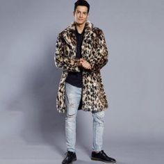 Faux Fur Coat Men's Leopard Turndown Collar Long Sleeve Regular Fit Long Coat - LEOPARD PRINT PATTERN 3XL