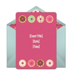 Customizable, free Donuts online invitations. Easy to personalize and send for a party. #punchbowl