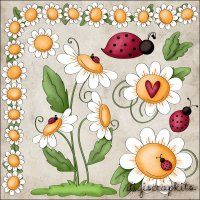 Ladies & Daisies 1 Clip Art Set