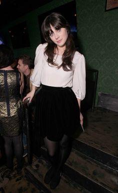 Zooey Deschanel's Black Scallop Skirt – Liz Meriwether Birthday Celebration at Rock