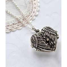 Martha Jackson Sterling Silver Love Wings Locket ($49) ❤ liked on Polyvore