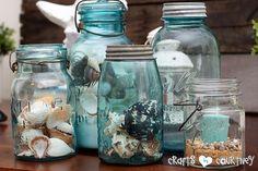 Summer Beach Decor Inspiration: Entertainment Center: Decorating with Mason Jars for Beach Theme