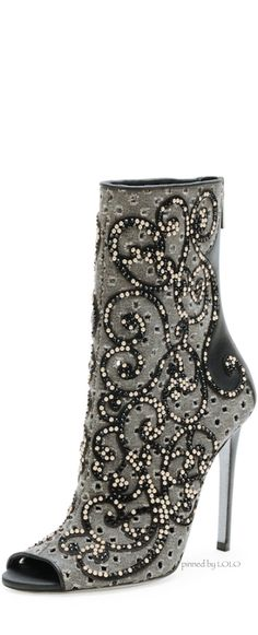Rene Caovilla Crystal Canvas Peep-Toe Bootie Fall 2014 #Shoes #Heels #Boots